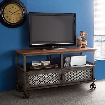 Evoke Industrial Rustic Chic TV / Media Unit With Two Jali Metal Doors