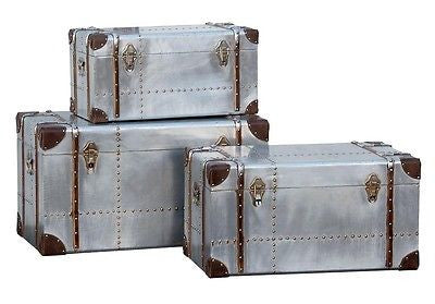 Industrial Aluminium  Large Set of 3 Trunks Cases Storage Furniture Chest.