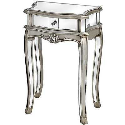 Argente Mirrored 1 Drawer Lamp Table bedside table Antique Silver