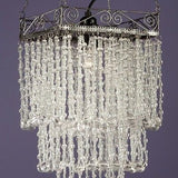 Jewelled Antique Silver waterfall Chandelier