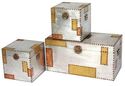Industrial Aluminium & Copper Set Of 3 Storage Trunks
