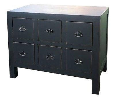 Rustic Black Oriental Chinese Lou Lan Six Drawer Cabinet chest of drawers