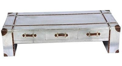 XL Size Industrial Aluminium & Faux Leather Aviator Style Coffee Table Drawers