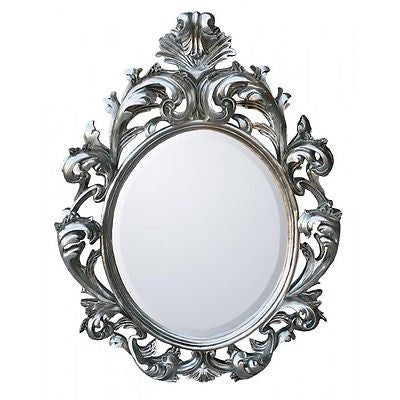 LARGE  ORNATE Baroque Silver Bevelled Mirror
