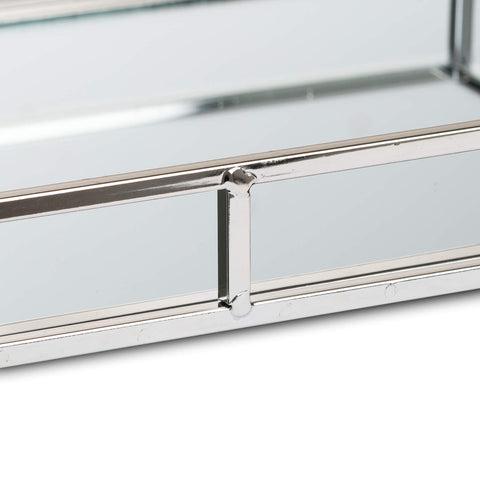 Set of 2 Rectangular MIRRORED TRAYS metal silver finish large display trays