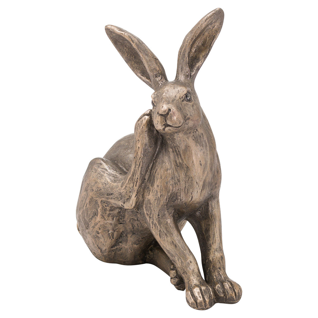 A set of 2 Sitting Bronze colour Hare Ornament.