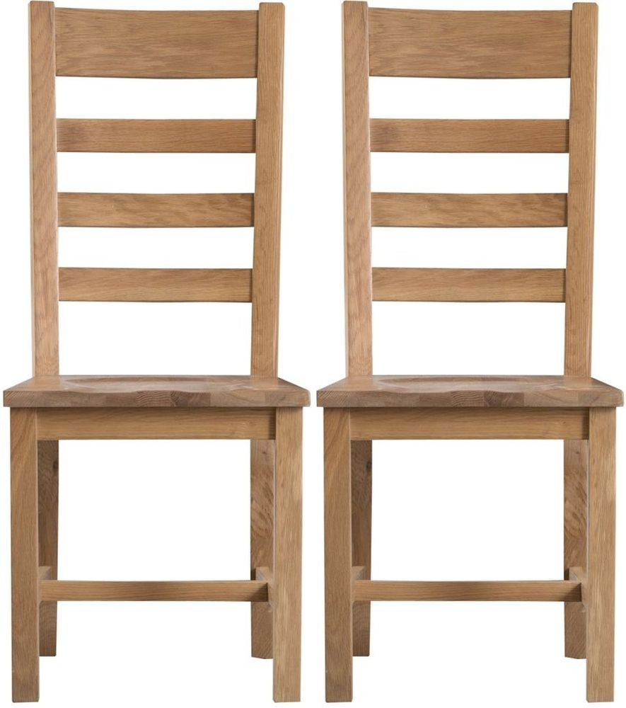 2 x Ladder Back Chair Wooden Seat