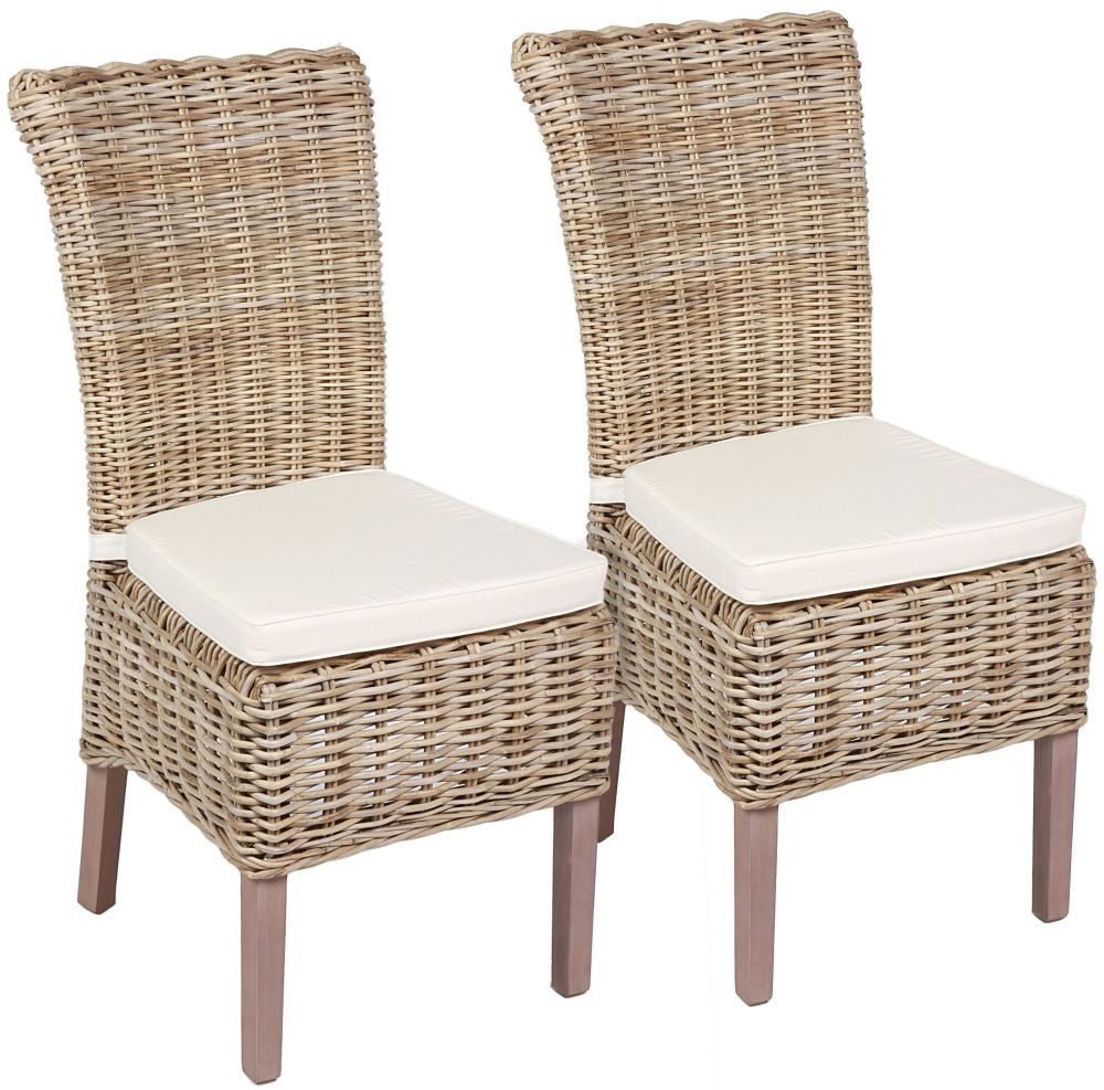 The Wicker Merchant Wicker Chair with Cushion (Pair)ch