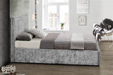 The Henly  Ottoman KING SIZE bed Crushed Velvet Steel