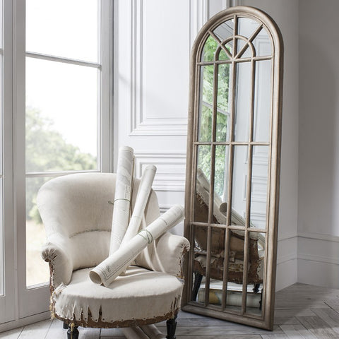 LARGE FLOOR STANDING PANELLED WINDOW MIRROR WITH WEATHERED FINISH