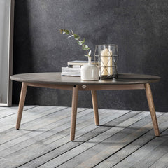 faux concrete top Oval Coffee Table