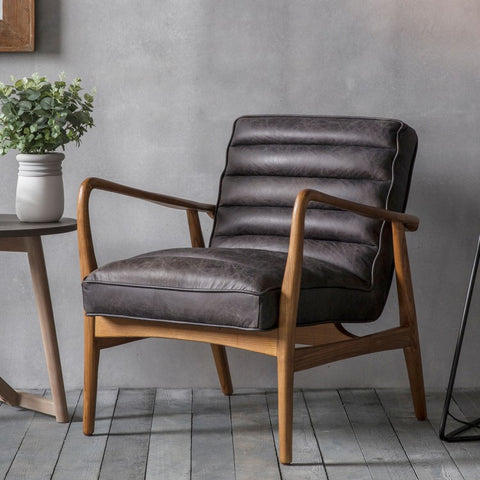 Stylish mid-century design Leather Armchair