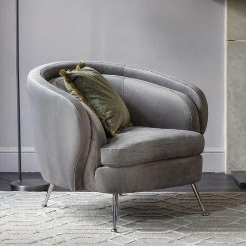 Tiffini Tub Chair Grey Velvet W930 x D860 x H790mm