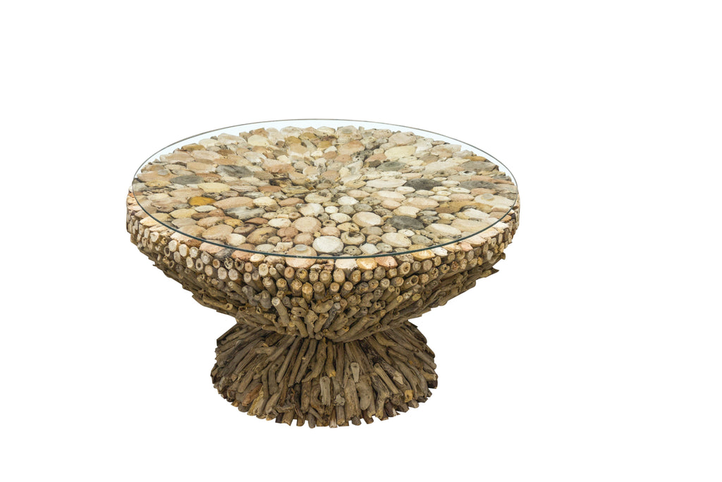 Hand Crafted Drift Wood Round Coffee Table Lounge furniture