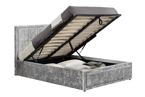 The Henly  Ottoman DOUBLE bed Crushed Velvet Steel