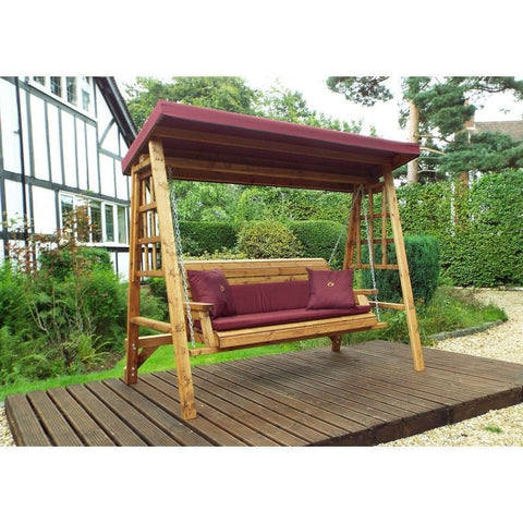 Hand Crafted Devon Three Seater Wooden Garden Swing
