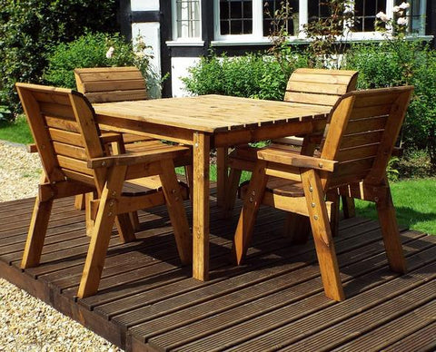 4 Seater Square Garden Table and 4 chairs Solid Wood