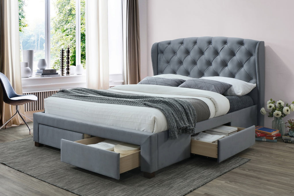 Grey Fabric Wingback King Size Bed Frame