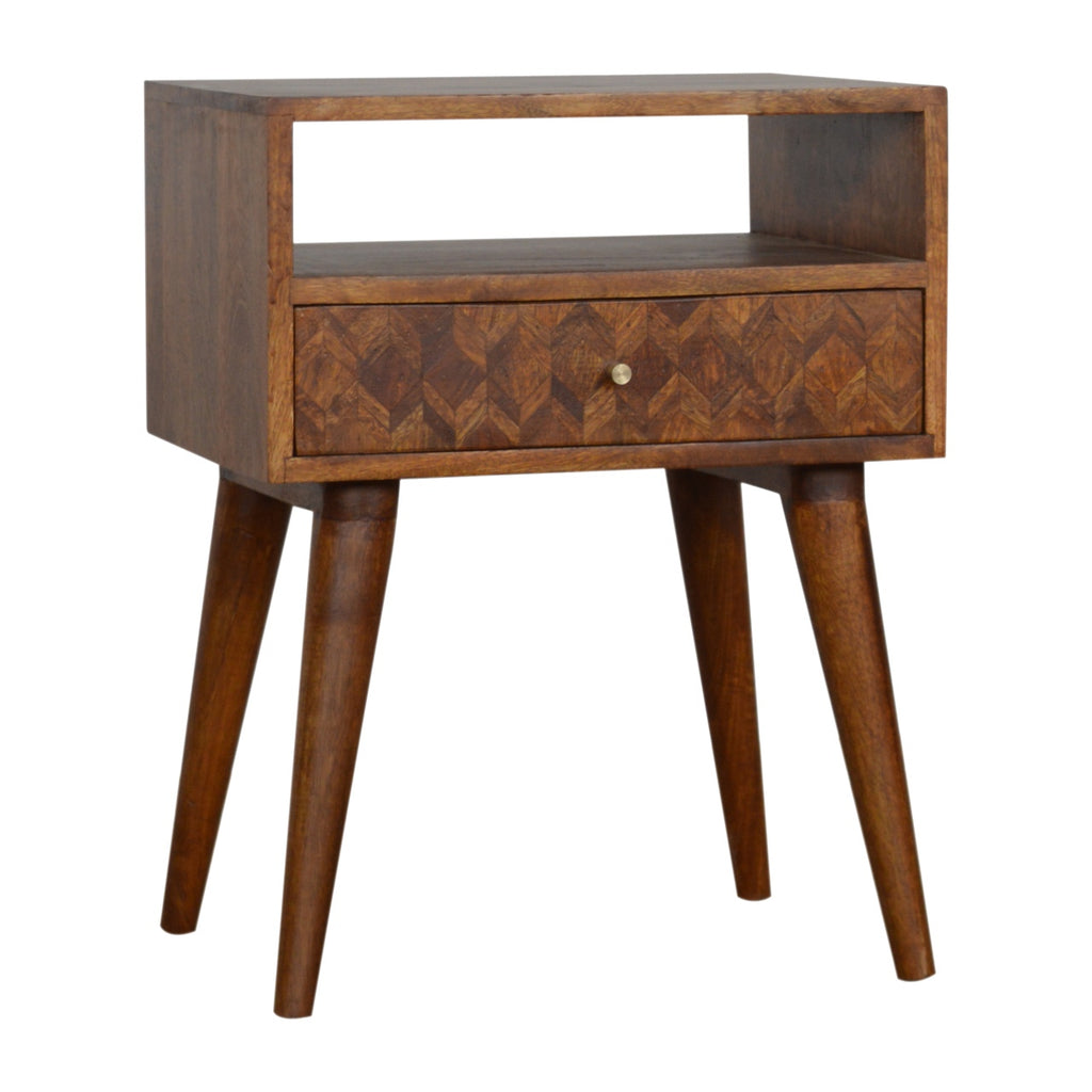 Assorted Chestnut Bedside with Open Slot