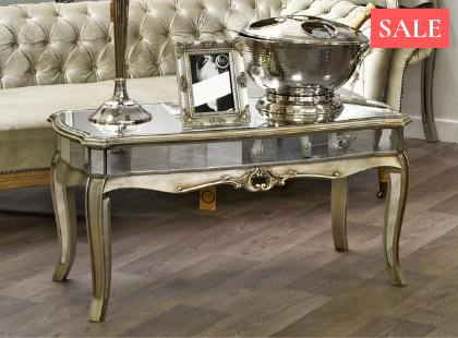 Argente Mirrored Coffee Table Silver Gilt Leaf