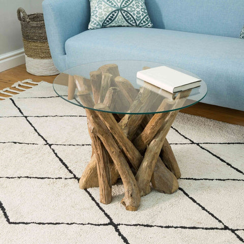 Branchwood Teak Round Coffee Table with Glass Top