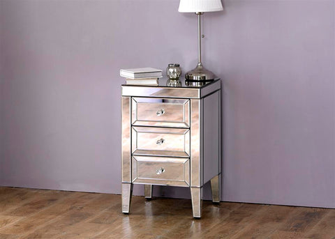 Valarie mirrored 3 drawer bedside table