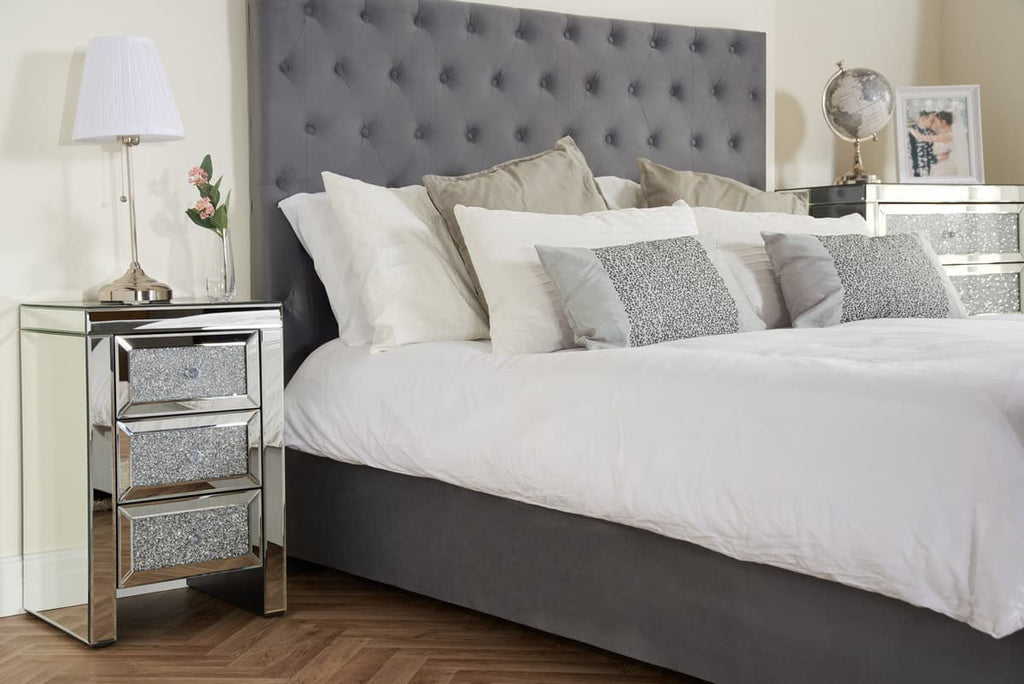 Crushed Diamond 3 drawer bedside cabinet