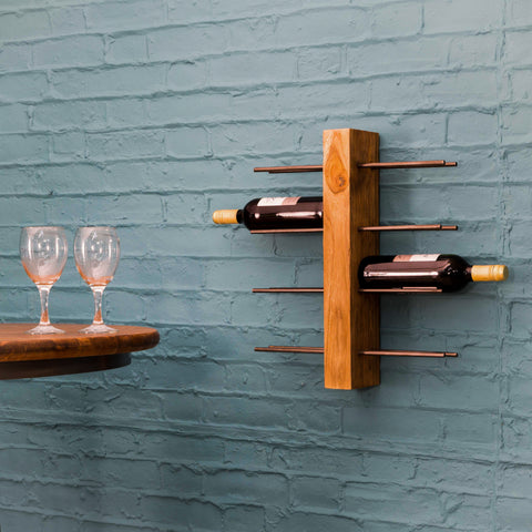 Natural Teak Root Wine Rack 8 Bottles