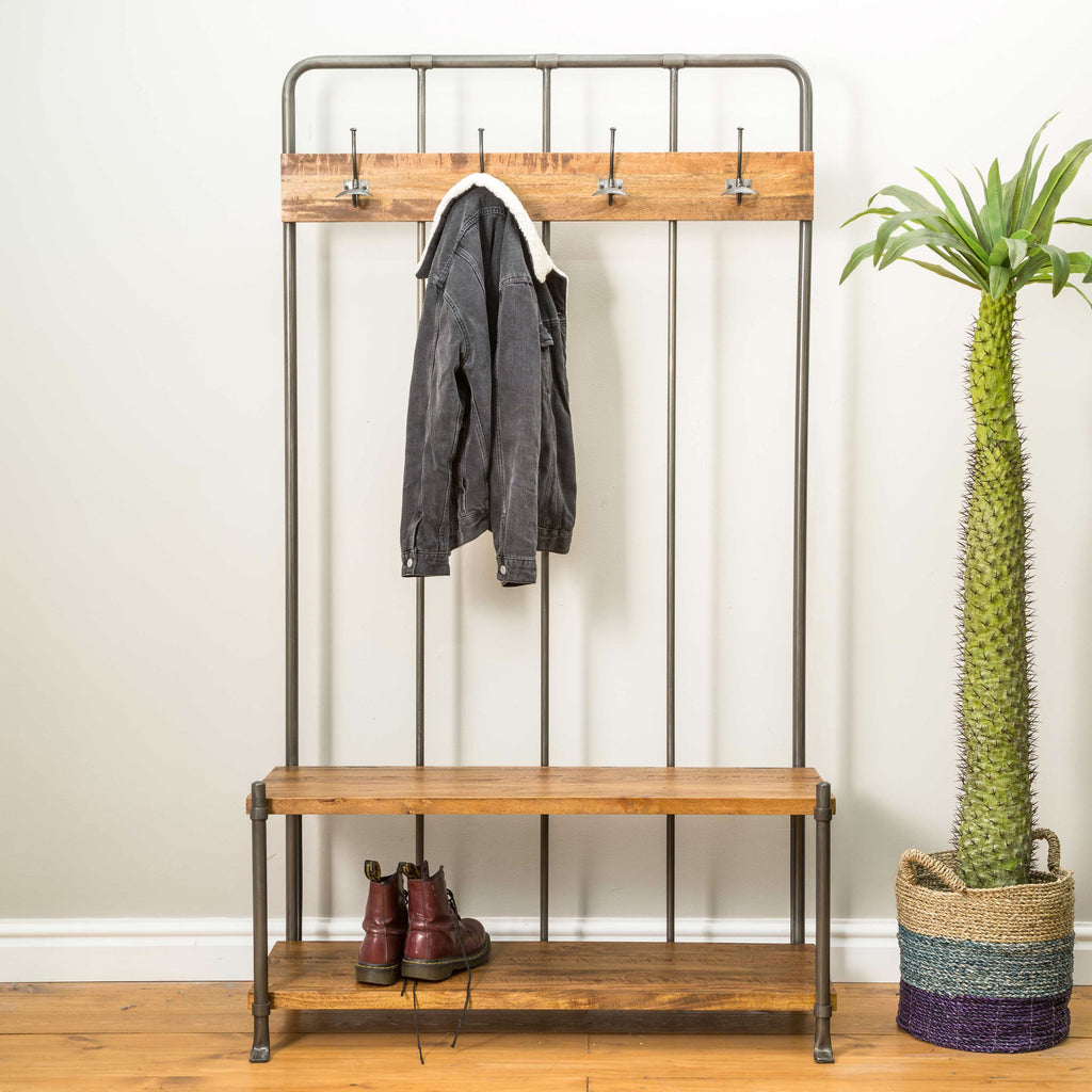 Industrial style Wood and Metal Hall coat stand and seat