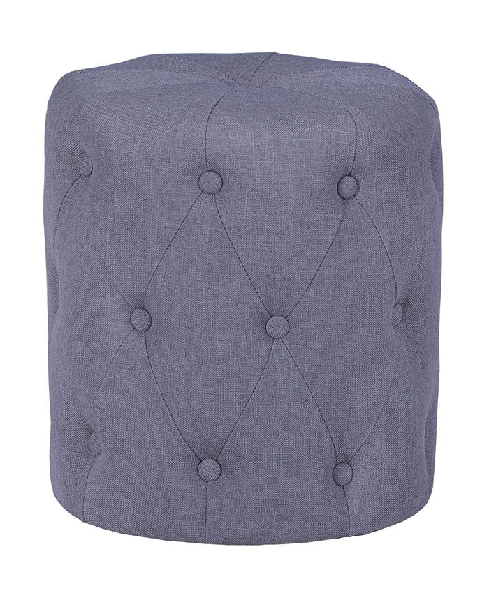 Grey buttoned fabric stool