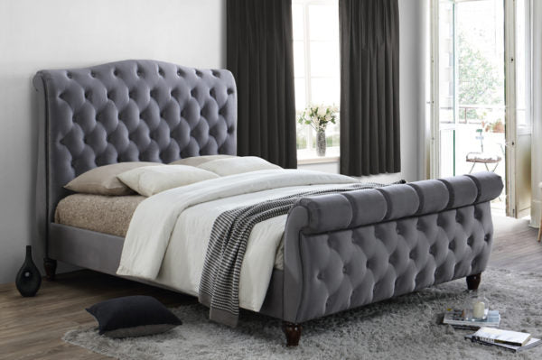 Chesterfield Sleigh Charcoal Fabric KING Bed Frame.