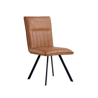 A SET OF 2 Tan Faux Leather  dining chairs