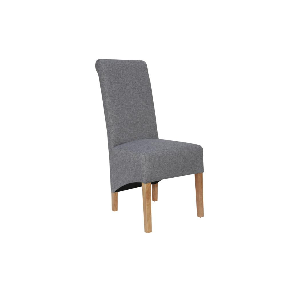 A PAIR OF  Scroll Back Chair - LIGHT GREY