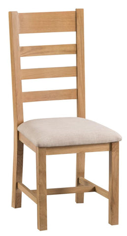 2 X Solid Ladder Back chairs with upholstered seatpad