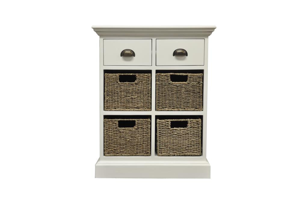 2 Drawer 4 Basket Unit  Antique White storage chest of drawers