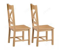 2 x Cross Back Chair Wooden Seat