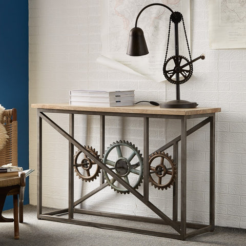 Superbe Evoke Iron / Wooden Industrial Console Table With Wheels