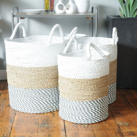 Set of 3 White Top Baskets