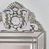 Vintage  Antique Style Iridescent Silver Etched Wall Mirror.