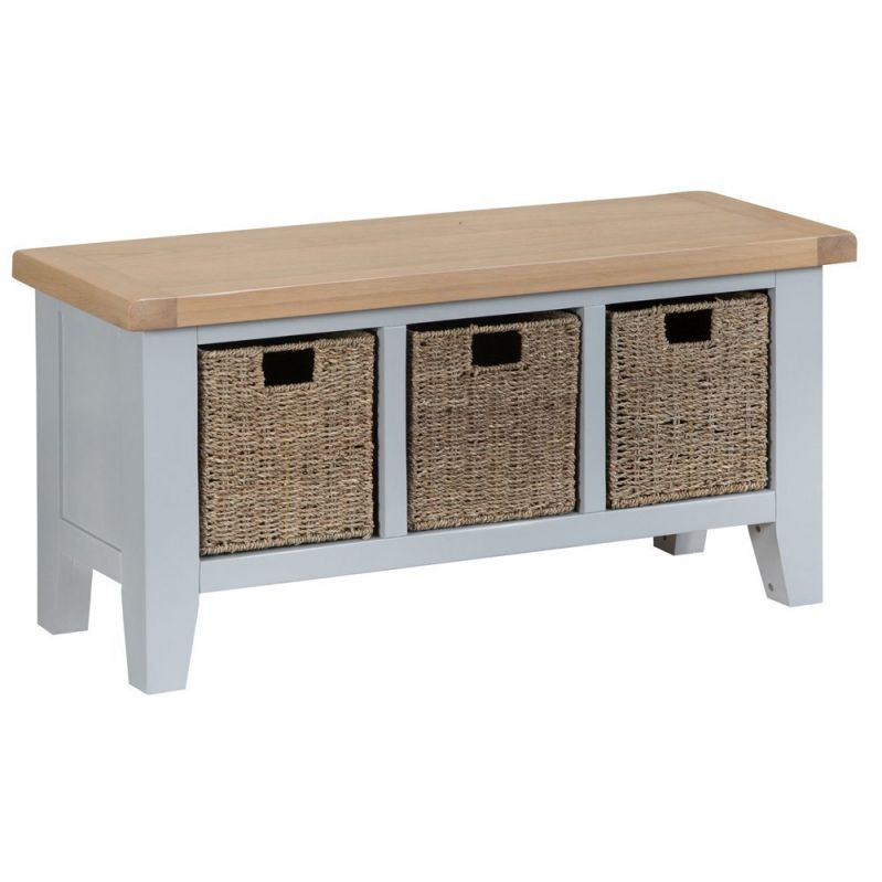 elegant grey and light oak finish Bench Hall Seat Shoe storage