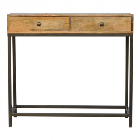 RETRO/Industrial style Solid Wood 2 Drawer Console Table with Iron Base