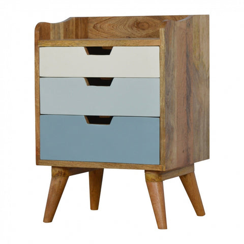 Nordic style 3 drawer painted fronts bedside chest of drawers