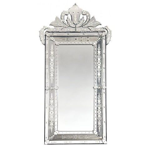 Sold Out Large Venetian Mirror With Crown And Etching