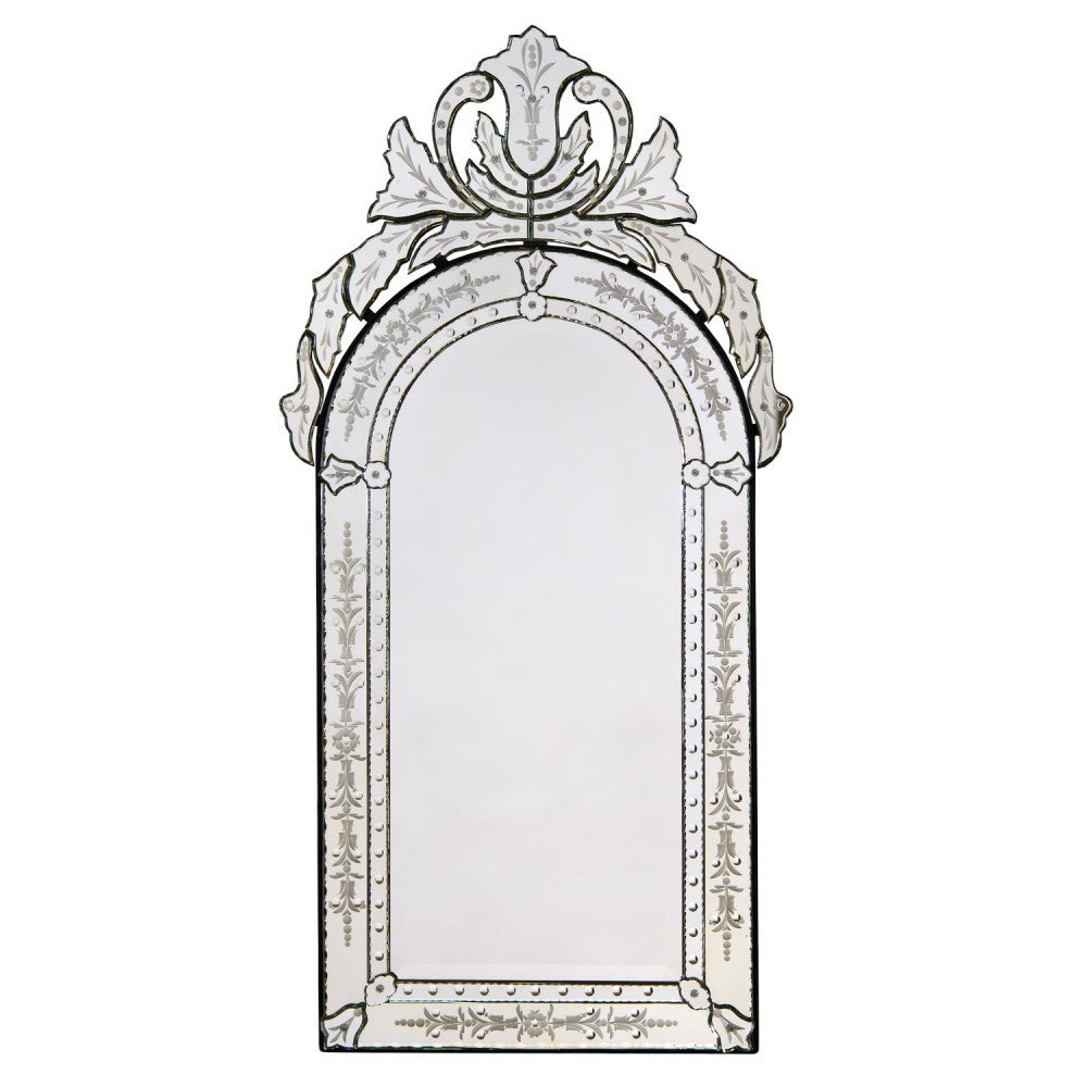 Vintage Venetian Arched Mirror with Crown and Etching