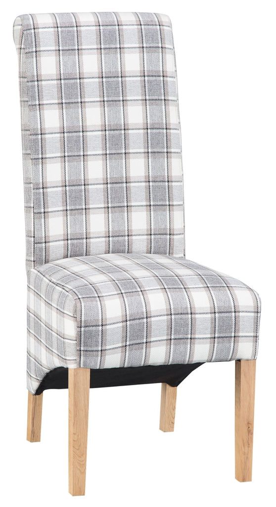 A PAIR OF SCROLL BACK DINING CHAIRS LIGHT GREY CHECK