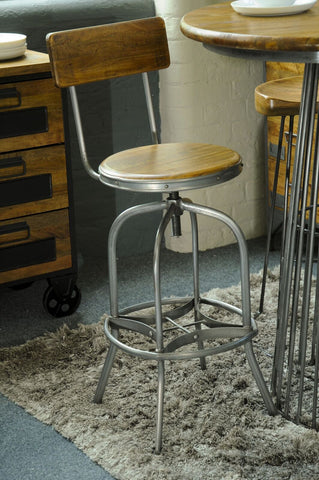Industrial style reclaimed Bar Stool with Back Rest