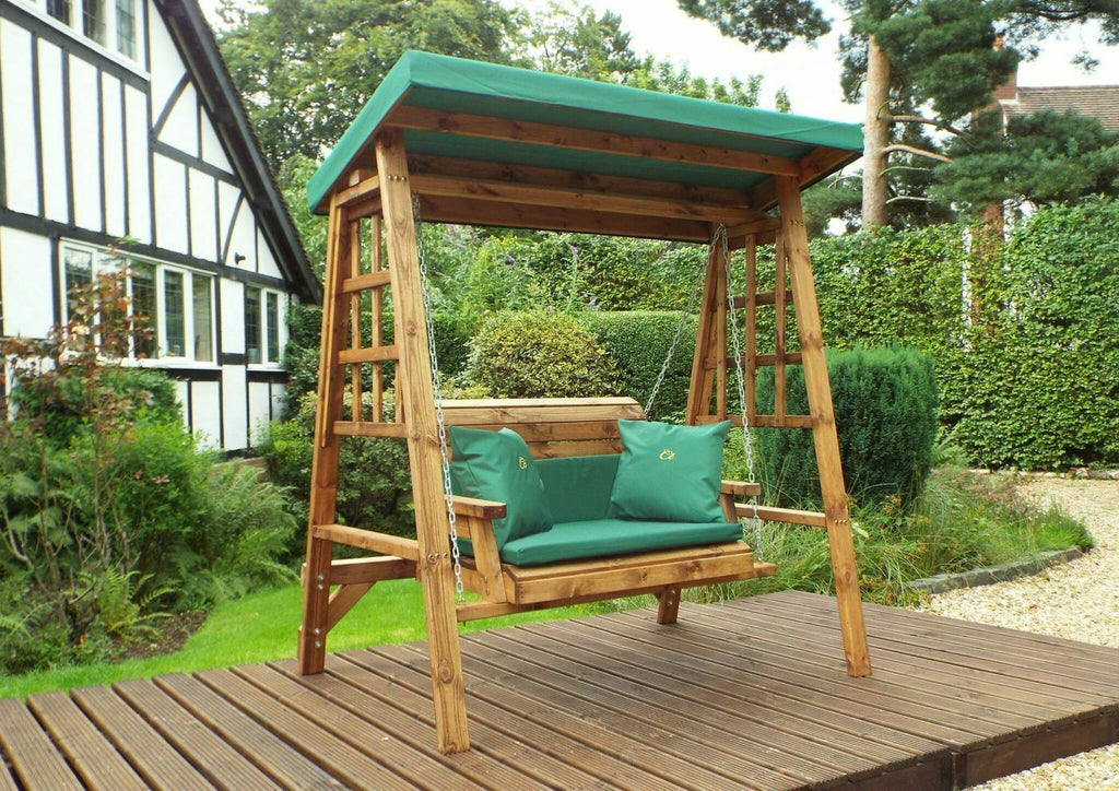 Hand Crafted Devon Two Seater Wooden Garden Swing GREEN,BURGANDY OR GREY