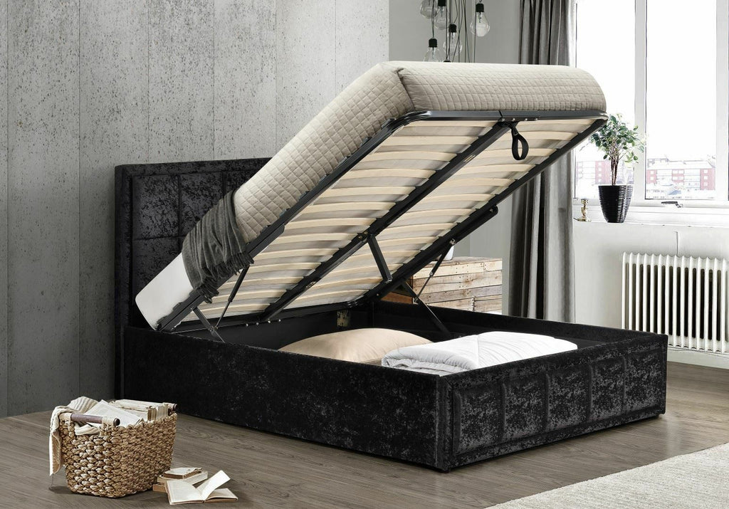 The Henly  Ottoman DOUBLE bed Crushed Velvet BLACK.,