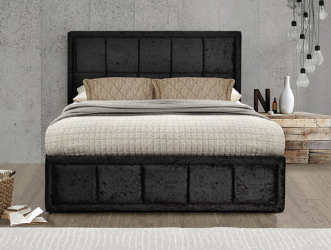 The Henly   DOUBLE bed Crushed Velvet BLACK.,