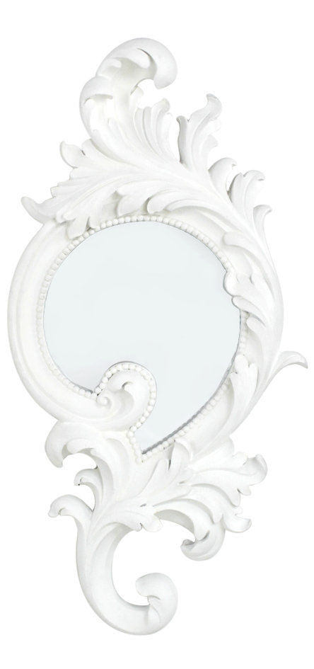 White BaroqueLarge Round Scroll Mirror